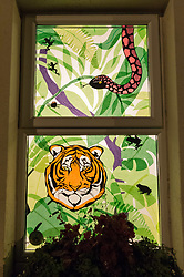 © Licensed to London News Pictures. 08/02/2019. Bristol, UK. Window Wanderland in BS9. The first part of a weekend of window art in Bristol. Window Wonderland was started in 2015 and aims to bring people together by helping them to put on community events, build relationships, strengthen neighbourhoods, create pride and spread friendship, positivity, happiness and goodwill. Photo credit: Simon Chapman/LNP