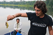 A wildlife guide holds up a small piranha caught in an oxbow lake in the Manu National Park Reserve Zone, Peru.