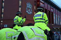 March 6, 2018 - Liverpool, U.S. - 6th March 2018, Anfield, Liverpool, England; UEFA Champions League football, round of 16, 2nd leg, Liverpool versus FC Porto; mounted police on crowd duty outside the stadium before the kick off (Photo by Dave Blunsden/Actionplus/Icon Sportswire) ****NO AGENTS---NORTH AND SOUTH AMERICA SALES ONLY****NO AGENTS---NORTH AND SOUTH AMERICA SALES ONLY* (Credit Image: © Dave Blunsden/Icon SMI via ZUMA Press)