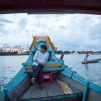 Tourist boat on the Perfume River in Hue, Vietnam.