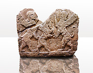 Picture of a Neo-Hittite orthostat describing the legend of Gilgamesh from Karkamis, Turkey. Museum of Anatolian Civilisations, Ankara. Mythological Scene of 2 Spinxes standing on their back legs either side of a winged horse which is also standing on its rear legs. 4