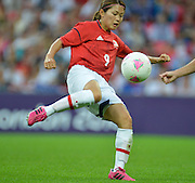 Wembley, Great Britain,..Description: JPN Mid fielder, Nahomi KAWASUNI. sets herself up for a shot at goal during the 2-1  defeat of  Japan by the USA Women's Football Team to win the Gold Medal. 2012 London Olympic , Women's Football, Gold Medal Match at Wembley Stadium, USA vs Japan, 20:12:01  Thursday  09/08/2012 [Mandatory Credit: Peter Spurrier/Intersport Images]