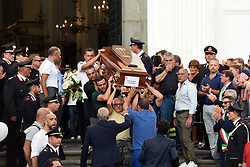 Torre del Greco, the funerals of Giovanni Battiloro, Matteo Bertonati, Gerardo Esposito and Antonio Stanzione, the four boys of Torre del Greco who died in the tragic collapse of the Morandi Bridge in Genoa on August 14, 2018. Their relatives have refused the State funeral and they decided to have them done in Torre del Greco. 17/08/2018, Torre del Greco, Italy