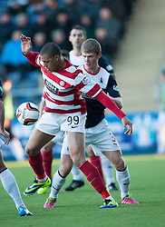 Hamilton's Mickeal Antoine-Curier with Falkirk's Stephen Kingsley.<br /> half time : Falkirk 0 v 0 Hamilton, Scottish Championship game at The Falkirk Stadium. © Michael Schofield 2014.