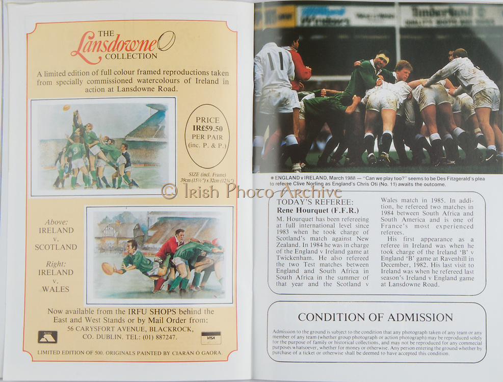 Irish Rugby Football Union, Ireland v England, Five Nations, Landsdowne Road, Dublin, Ireland, Saturday 23rd April, 1988,.23.04.1988, 04.23.1988,..Referee- Rene Hourquet,..Score- Ireland 10- 21 England,..Irish Team, ..H P MacNeill,  Wearing number 15 Irish jersey, Full Back, London Irish Rugby Football Club, London, England, ..J F Sexton, Wearing number 14 Irish jersey, Right Wing, Dublin University Rugby Football Club, Dublin, Ireland,..V Cunningham, Wearing number 13 Irish jersey, Right Centre, St Marys Rugby Football Club, Dublin, Ireland,..B J Mullin, Wearing number 12 Irish jersey, Left Centre, Blackrock Rugby Football Club, Dublin, Ireland, ..M J Kiernan, Wearing number 11 Irish jersey, Left Wing, Dolphin Rugby Football Club, Cork, Ireland,..P M Dean, Wearing number 10 Irish jersey, Out Half, St Marys College Rugby Football Club, Dublin, Ireland,..F P Aherne, Wearing number 9 Irish jersey, Scrum Half, Dolphin Rugby Football Club, Cork, Ireland,..M E Gibson, Wearing number 8 Irish jersey, Forward, London Irish Rugby Football Club, London, England,..W Sexton, Wearing number 7 Irish jersey, Forward, Garryowen Rugby Football Club, Limerick, Ireland, ..P M Mathews, Wearing number 6 Irish jersey, Forward, Wanderers Rugby Football Club, Dublin, Ireland,..W A Anderson, Wearing number 5 Irish jersey, Forward, Dungannon Rugby Football Club, Tyrone, Northern Ireland, ..D G Lenihan, Wearing number 4 Irish jersey, Captain of the Irish team, Forward, Cork Constitution Rugby Football Club, Cork, Ireland,..J J Mcoy, Wearing number 3 Irish jersey, Forward, Bangor Rugby Football Club, Down, Northern Ireland,..S J Smith, Wearing number 2 Irish jersey, Forward, Ballymena Rugby Football Club, Antrim, Northern Ireland, ..T P J Clancy, Wearing number 1 Irish jersey, Forward, Lansdowne Rugby Football Club, Dublin, Ireland,..English Team, ..J M Webb, Wearing number 15 English jersey, Full Back, Bristol Rugby Football Club, Bristol, England, ..J Bentley, Wearing number 14 English jerse