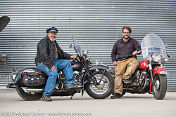 Carl Olsen of Carl's Cycle with his 1948 FL Harley-Davidson Panhead alongside his son Matt with his 1949 Panhead. Aberdeen, SD. USA. Sunday October 8, 2017. Photography ©2017 Michael Lichter.