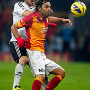 Galatasaray's Selcuk Inan (R) during their Turkish superleague soccer derby match Galatasaray between Besiktas at the TT Arena at Seyrantepe in Istanbul Turkey on Sunday, 27 January 2013. Photo by Aykut AKICI/TURKPIX