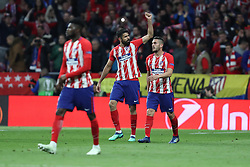May 3, 2018 - Madrid, Spain - DIEGO COSTA of Atletico de Madrid celebrates after scoring his side's opening goal during the UEFA Europa League, semi final, 2nd leg football match between Atletico de Madrid and Arsenal FC on May 3, 2018 at Metropolitano stadium in Madrid, Spain (Credit Image: © Manuel Blondeau via ZUMA Wire)