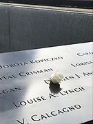 The 9/11 Memorial in New York City with a white rose on a section of the names of people who were killed