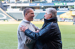 June 15, 2018 - Portland, Oregon, U.S. - PORTLAND, OR - JUNE 15: Head coaches Giovanni Savarese (Portland Timbers, left) and Siegfried Schmid (LA Galaxy, right), embrace cordially before the Portland Timbers game versus the LA Galaxy in a United States Open Cup match on June 15, 2018, at Providence Park, OR. (Photo by Diego G Diaz/Icon Sportswire) (Credit Image: © Diego Diaz/Icon SMI via ZUMA Press)