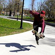 Flatrock resident Trevor Morey (cq), a graphic communications student at College of the North Atlantic, enjoys the 60°F weather to practice his skating tricks at Bannerman Park in St. John's, Newfoundland and Labrador, Canada, on Wednesday, June 5, 2019. THE BLADE/KURT STEISS <br /> MAG NewfoundlandXX