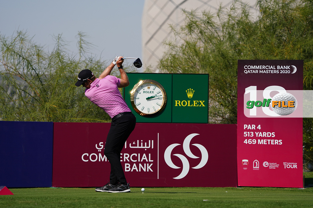 Joachim B Hansen (DEN) on the 18th during Round 1 of the Commercial Bank Qatar Masters 2020 at the Education City Golf Club, Doha, Qatar . 05/03/2020<br /> Picture: Golffile   Thos Caffrey<br /> <br /> <br /> All photo usage must carry mandatory copyright credit (© Golffile   Thos Caffrey)