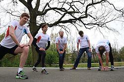 10-04-2014 NED: NY City Marathon training Vriendenloterij, Amsterdam<br /> In het Amsterdamse Vondelpark werden de eerste meters gelegd door de lopers van de vriendenloterij / Bas, Barend, David, Han, Leo