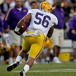 18 April 2009: LSU linebacker Perry Riley (56) returns an interception during the 2009 LSU spring football game at Tiger Stadium in Baton Rouge, LA.