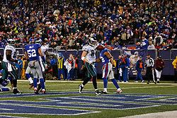 Philadelphia Eagles tight end Brent Celek #87 scores a touchdown during the NFL game between the Philadelphia Eagles and the New York Giants on December 13th 2009. The Eagles won 45-38 at Giants Stadium in East Rutherford, New Jersey. (Photo By Brian Garfinkel)