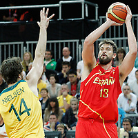 31 July 2012: Spain Marc Gasol takes a jumpshot over Australia Matt Nielsen during the first half of Spain vs Australia, during the men's basketball preliminary, at the Basketball Arena, in London, Great Britain.