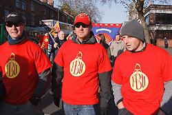 FBU members with banners at demonstration against pension cuts, Nottingham 30th November 2011