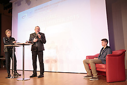 02.10.2015, Nussdorf Gebannt, AUT, Empfang für UCI Juniorenweltmeister Felix Gall, im Bild Moderator Thomas Pupp, LA Hermann Kuenz , UCI Juniorenweltmeister Felix Gall // during the official reception for the UCI Junior World Champion Felix Gall in his home town. Nussdorf Decant, Austria on 2015/10/02. EXPA Pictures © 2015, PhotoCredit: EXPA/ Johann Groder