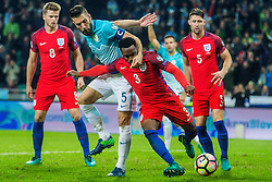 Bostjan Cesar of Slovenia and Danny Rose of England withEric Dier of England and Gary Cahill of England during football match between National teams of Slovenia and England in Round #3 of FIFA World Cup Russia 2018 qualifications in Group F, on October 11, 2016 in SRC Stozice, Ljubljana, Slovenia. Photo by Grega Valancic / Sportida