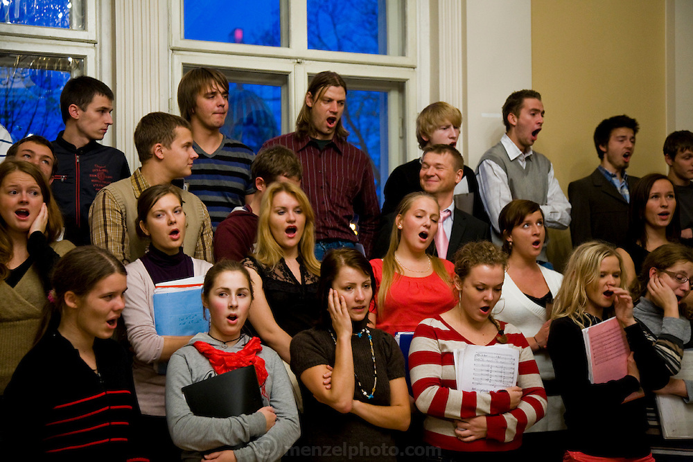 The Kamer Latvian youth choir practices in Riga, Latvia. The choir is instructed by Ansis Sauka, a voice teacher, musician and composer. (Ansis Sauka is featured in the book What I Eat: Around the World in 80 Diets.)