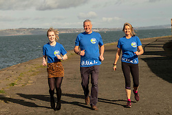 """Pictured: Maria Lyle, Scott and Jenny Hastings<br /><br />Athlete Maria Lyle, was joined by rugby legend Scott Hastings and his wife Jenny  today in Edinburgh to launch national Mental Health charity Support in Mind Scotland's """"100 Streets Challenge"""" for 2019. The campaign encourages people to walk, run or cycle 100 streets in their communities. <br /><br />Ger Harley 