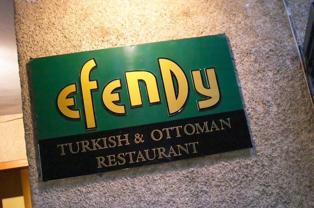 Sign with name Efendy and Turkish Ottoman Restaurant. Efendi Efendy traditional Turkish and Ottoman Restaurant, The Block, Tirana. Albania, Balkan, Europe.