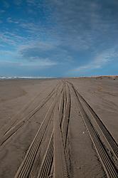 Tire Tracks on Beach at Loomis Lake State Park, Long Beach, Washington, US