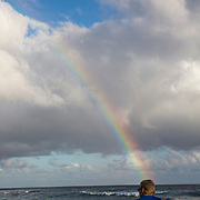 Rainbow as seen from a beach in Poipu.