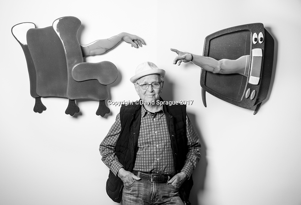 TV producer Norman Lear in his office in Beverly Hills, CA. Sept. 19, 2017. Photo by David Sprague