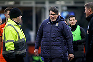Luton Town FC interim manager Mick Harford walks off the pitch at half time during the EFL Sky Bet League 1 match between Luton Town and Peterborough United at Kenilworth Road, Luton, England on 19 January 2019.