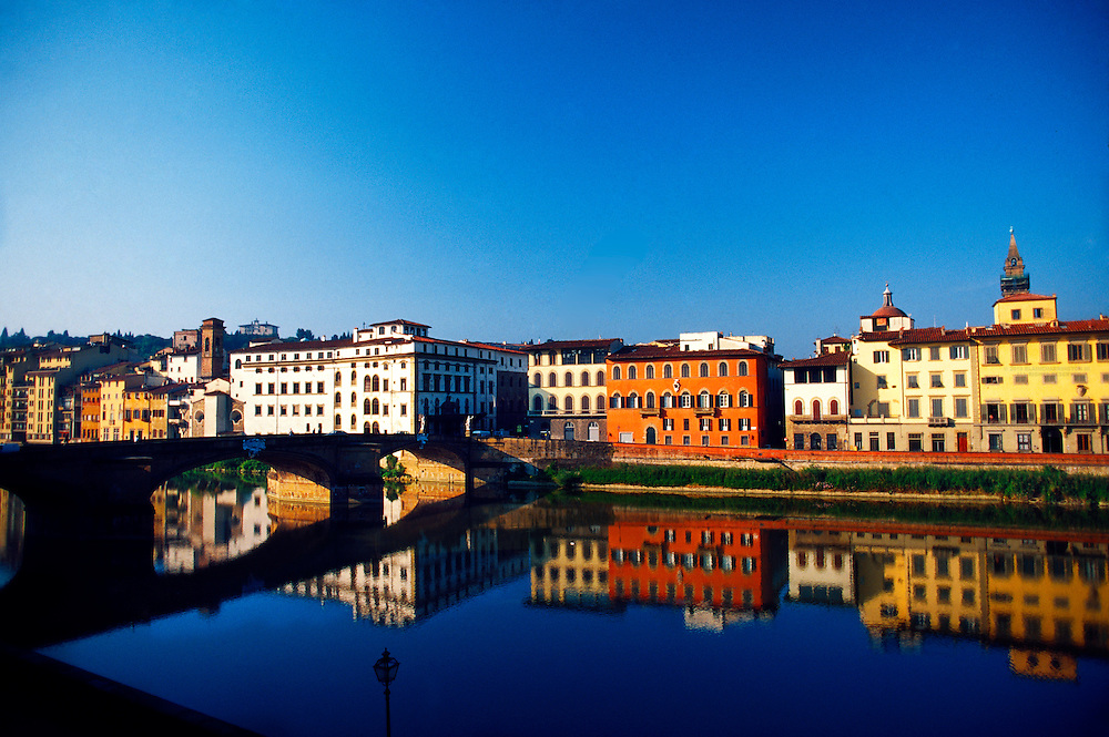 Colorful buildings along the River Arno, Florence, Italy