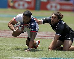 April 8, 2018 - Hong Kong, HONG KONG - Martin Iosefo (12) of the United States shown against New Zealand during the 2018 Hong Kong Rugby Sevens at Hong Kong Stadium in Hong Kong. (Credit Image: © David McIntyre via ZUMA Wire)