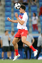 England's Harry Maguire warming up before the FIFA World Cup Group G match at The Volgograd Arena, Volgograd.