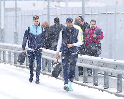 Kyle Walker and John Stones and The Manchester City team are seen at Manchester Piccadilly Train Station on Thursday morning as they make their trip to London to face Arsenal in the premier league