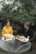 President Carter and First Lady Rosalynn Carter have lunch in a private area just off of the Oval Office in March 1977.  Photograph was made as part of an exclusive inside look at the Carter White House for TIME magazine,..Photograph by Dennis Brack bb30