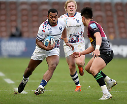 Siva Naulago of Bristol Bears runs at Marcus Smith of Harlequins - Mandatory by-line: Matt Impey/JMP - 26/12/2020 - RUGBY - Twickenham Stoop - London, England - Harlequins v Bristol Bears - Gallagher Premiership Rugby