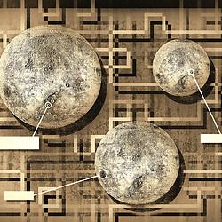 Retro Moon Sepia with Deco style geometric background