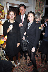 Left to right, MARINA HANBURY, TIM HANBURY and ROSE HANBURY at a party to celebrate the publication of Charles Glass's new book 'Americans in Paris' held at 12 Lansdowne Road, London W1 on 25th March 2009.