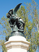 Fallen angel statue in retiro park. Madrid. Spain