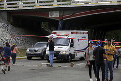 June 28, 2017 - Valencia, Carabobo, Venezuela - An ambulance, not in emergency, is granted permission to convoy through the streets, despite the fact that the neighbors make the call and stick to Article 350 of the national constitution, which allows them to ignore the authorities of the government of Nicolas Maduro, before the Attempt to make a constituent to modify the national constitution. The photos belong to the city of Valencia, Carabobo state. Photo: Juan Carlos Hernandez (Credit Image: © Juan Carlos Hernandez via ZUMA Wire)