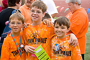 Young athletes pose for picture at award ceremony. Special Olympics U of M Bierman Athletic Complex. Minneapolis Minnesota USA