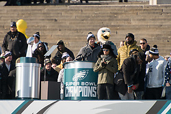 February 8, 2018 - Philadelphia, Pennsylvania, U.S - Philadelphia Eagles QB, NICK FOLES, addresses the fans on the steps of the Art Museum at  the Philadelphia Eagles Super Bowl celebration in Philadelphia PA (Credit Image: © Ricky Fitchett via ZUMA Wire)