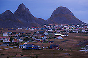 The town of Sorland at dusk on Vaeroy Island, Lofoten Islands, Norway.