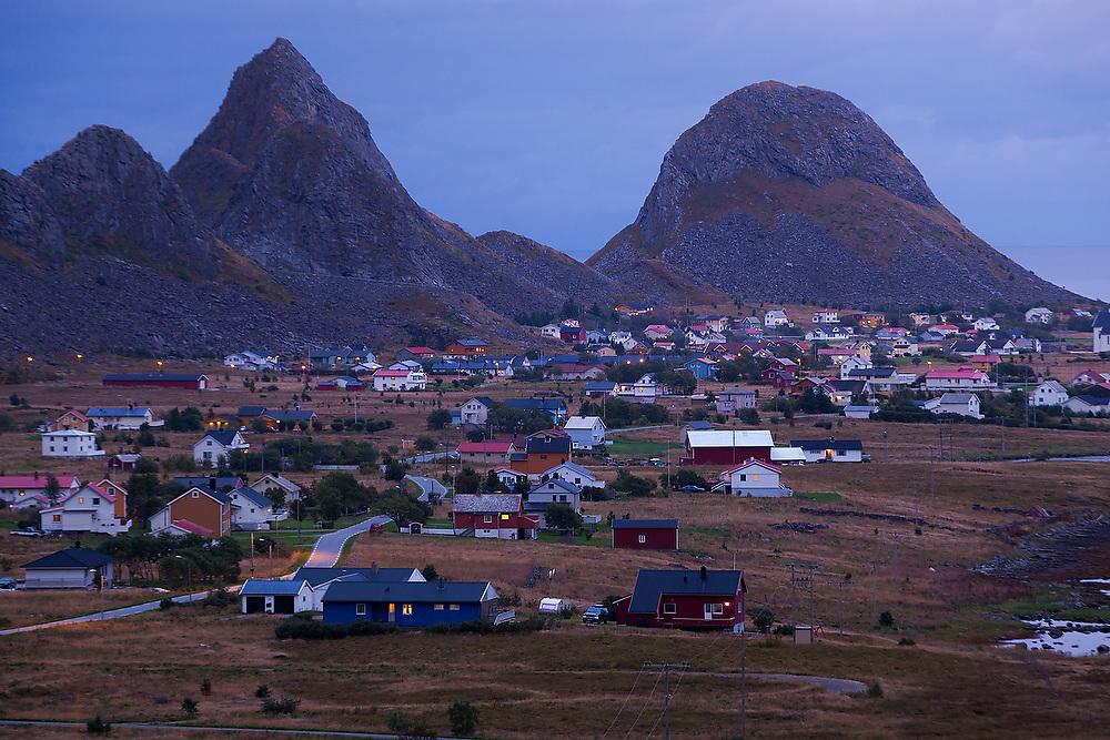 The town of Sorland at dusk on Vaeroy Island, Lofoten Islands, Norway.