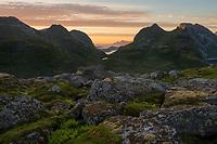 Wild mountain landscape of Moskenesøy, Lofoten Islands, Norway