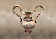 Elaborate Minoan amphora  of veined stone with double mouth and s shaped handles, Zakros Central Sanctuary  1500-1400 BC; Heraklion Archaeological  Museum. .<br /> <br /> If you prefer to buy from our ALAMY PHOTO LIBRARY  Collection visit : https://www.alamy.com/portfolio/paul-williams-funkystock/minoan-art-artefacts.html . Type -   Heraklion   - into the LOWER SEARCH WITHIN GALLERY box. Refine search by adding background colour, place, museum etc<br /> <br /> Visit our MINOAN ART PHOTO COLLECTIONS for more photos to download  as wall art prints https://funkystock.photoshelter.com/gallery-collection/Ancient-Minoans-Art-Artefacts-Antiquities-Historic-Places-Pictures-Images-of/C0000ricT2SU_M9w