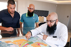 Durban 26/06/2018<br /> Zain Adams (sales Manager), Hashim Amla and Ismail Kajee (buyer) at the Demo House where some of the top personel have bought apartment houses near Sibaya Casino Durban.