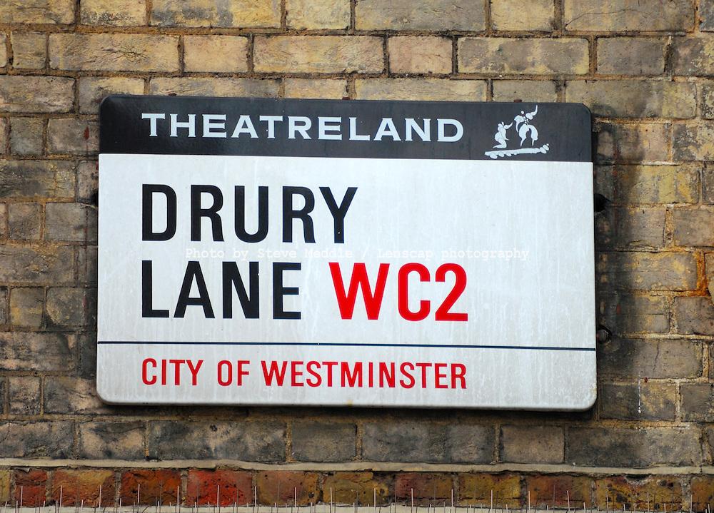 Drury Lane, Street Sign, London, England, Britain - July 09