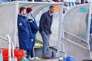Workington Town head coach Leon Pryce watches from the side during the Ladbrokes Challenge Cup round 3 match between Hunslet Club Parkside and Workington Town at South Leeds Stadium, Leeds, United Kingdom on 24 February 2018. Picture by Simon Davies.