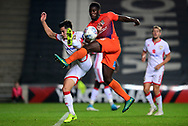 Aaron Pierre of Northampton Town battles for the ball with Gboly Ariyibi of Milton Keynes Dons (l)  .EFL Skybet football league one match, MK Dons v Northampton Town at the Stadium MK in Milton Keynes on Tuesday 26th September 2017.<br /> pic by Bradley Collyer, Andrew Orchard sports photography.